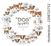 set of dog face on white...   Shutterstock .eps vector #1208721712