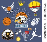 hand drawn  sign of basketball  ... | Shutterstock .eps vector #1208726668