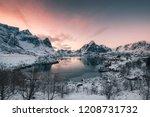 fishing village in snow...   Shutterstock . vector #1208731732