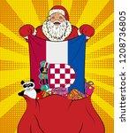 santa claus gets national flag... | Shutterstock . vector #1208736805