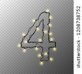number from the christmas light ... | Shutterstock .eps vector #1208738752