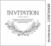 vintage invitation card. vector ... | Shutterstock .eps vector #1208760688