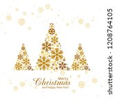 merry christmas greeting card... | Shutterstock .eps vector #1208764105