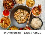 Stock photo chinese food set chinese noodles fried rice with chicken tom yum soup spring rolls deep fried 1208773522