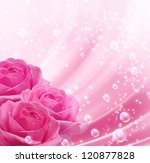 Stock photo pink roses and bubbles 120877828