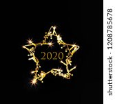 2020 banner. symbol of the new... | Shutterstock . vector #1208785678