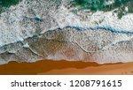 ocean waves overhead aerial... | Shutterstock . vector #1208791615