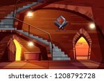 dark dungeon of medieval castle ... | Shutterstock .eps vector #1208792728