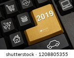 computer keyboard and 2019 new... | Shutterstock . vector #1208805355
