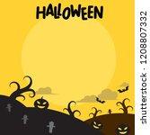 halloween background  flat...   Shutterstock .eps vector #1208807332