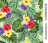 tropical vector seamless... | Shutterstock .eps vector #1208808238