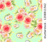 flower print in bright colors.... | Shutterstock . vector #1208811562