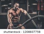 brutal strong bodybuilder... | Shutterstock . vector #1208837758
