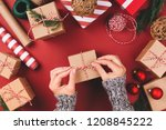 christmas background with gift... | Shutterstock . vector #1208845222