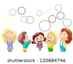 happy children and bubbles on... | Shutterstock .eps vector #120884746