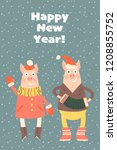 vector  new year greeting card...   Shutterstock .eps vector #1208855752