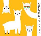 alpaca llama animal set. face... | Shutterstock .eps vector #1208857708