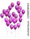 violet flying balloons isolated ... | Shutterstock .eps vector #1208858965