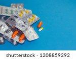 many packs of pills. tablets... | Shutterstock . vector #1208859292