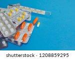 many packs of pills. tablets... | Shutterstock . vector #1208859295