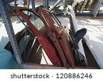 worn out car parts at scrap yard | Shutterstock . vector #120886246