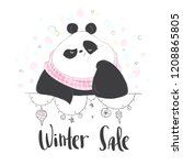 Panda In Scarf With Lettering ...