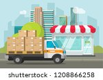 delivery truck loaded with... | Shutterstock .eps vector #1208866258