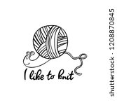 i love to knit. snail and yarn... | Shutterstock .eps vector #1208870845