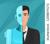 half cyborg  half human man... | Shutterstock .eps vector #1208874172
