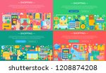 online shopping and e commerce... | Shutterstock .eps vector #1208874208