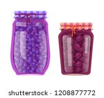 blueberry and plum preserved... | Shutterstock .eps vector #1208877772