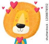 cute cartoon character lion... | Shutterstock . vector #1208878552