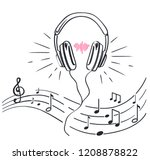headphones and sheet music with ... | Shutterstock .eps vector #1208878822