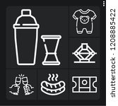 set of 6 party outline icons... | Shutterstock .eps vector #1208885422