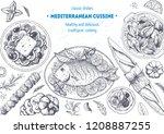 mediterranean cuisine top view... | Shutterstock .eps vector #1208887255