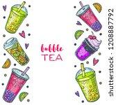 bubble tea hand drawn...   Shutterstock .eps vector #1208887792