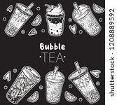 bubble tea hand drawn...   Shutterstock .eps vector #1208889592
