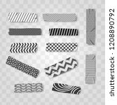 set grey  black and white washi ... | Shutterstock .eps vector #1208890792