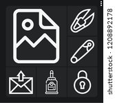 set of 6 open outline icons... | Shutterstock .eps vector #1208892178