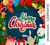 christmas greeting card  merry... | Shutterstock . vector #1208906932