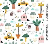 baby seamless pattern with cute ... | Shutterstock .eps vector #1208919688