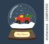 christmas snow globe with truck ... | Shutterstock .eps vector #1208925532