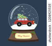 christmas snow globe with truck ... | Shutterstock .eps vector #1208925535