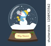 christmas snow globe with... | Shutterstock .eps vector #1208925562