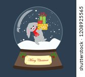 christmas snow globe with... | Shutterstock .eps vector #1208925565