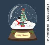 christmas snow globe with bear... | Shutterstock .eps vector #1208925595
