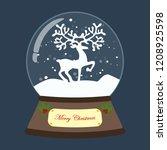 christmas snow globe with deer... | Shutterstock .eps vector #1208925598