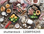christmas dinner table with...   Shutterstock . vector #1208954245