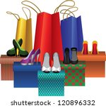 gift boxes with woman shoes and ... | Shutterstock . vector #120896332