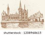 vector sketch of embankment... | Shutterstock .eps vector #1208968615